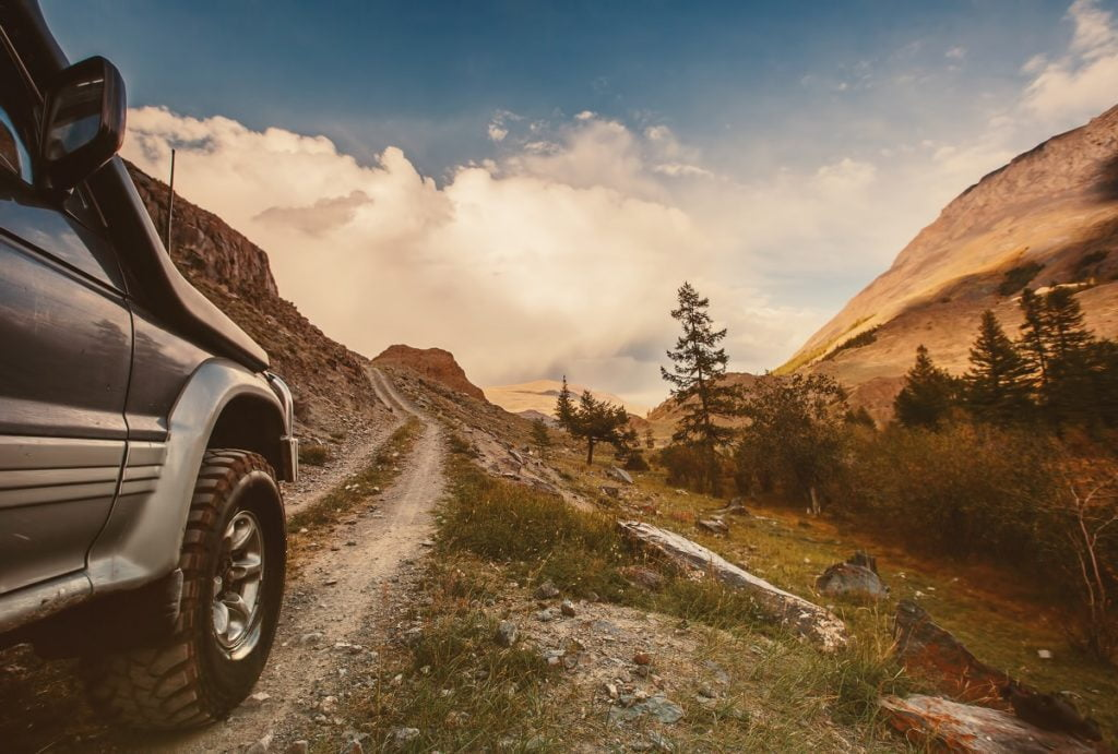 car near a mountain