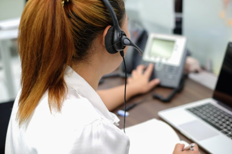 Female call center agent