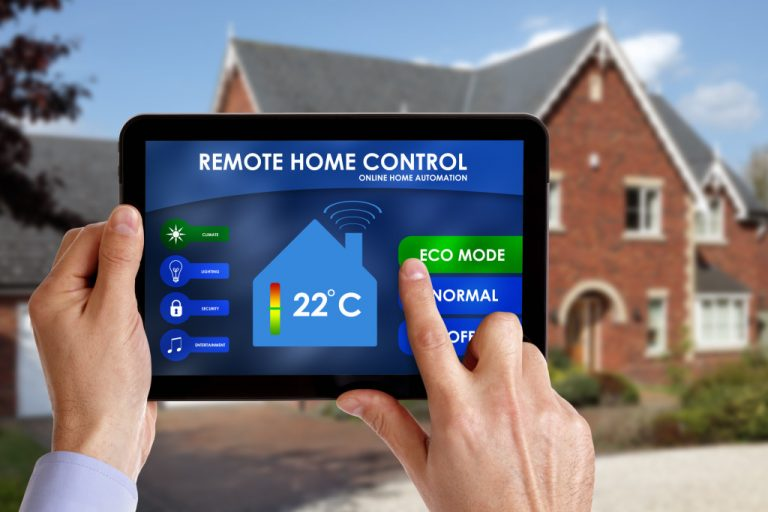 persone using tablet to control home