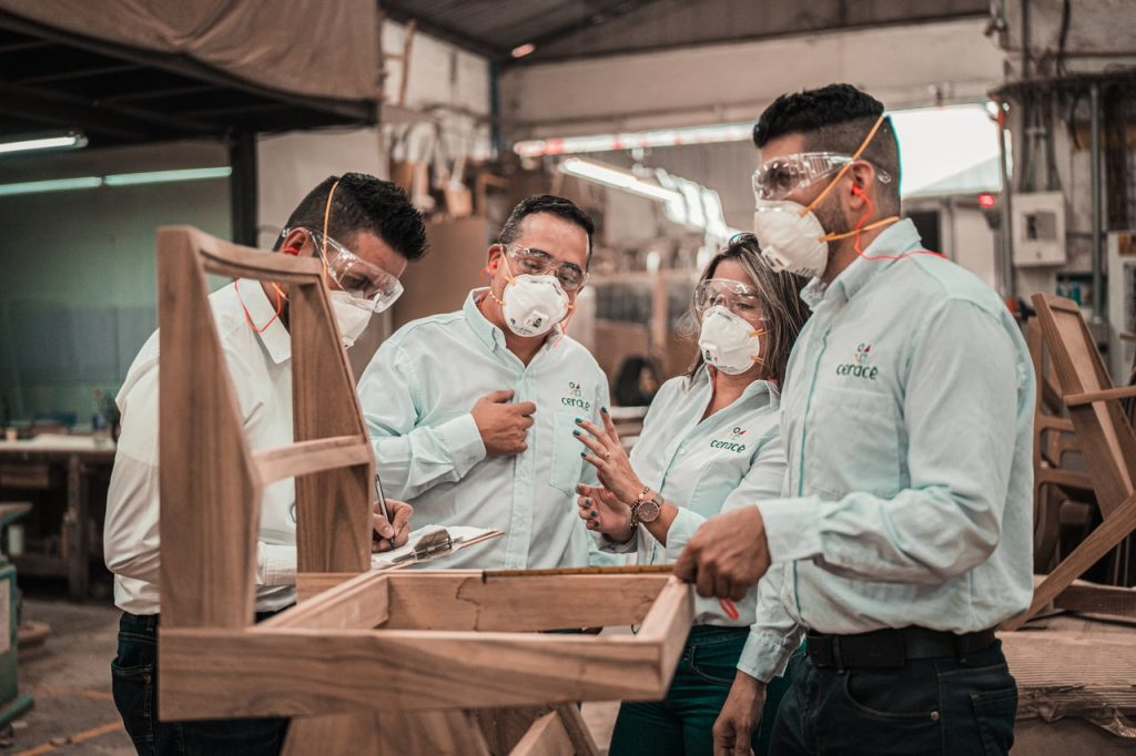 Employees wearing protective equipments