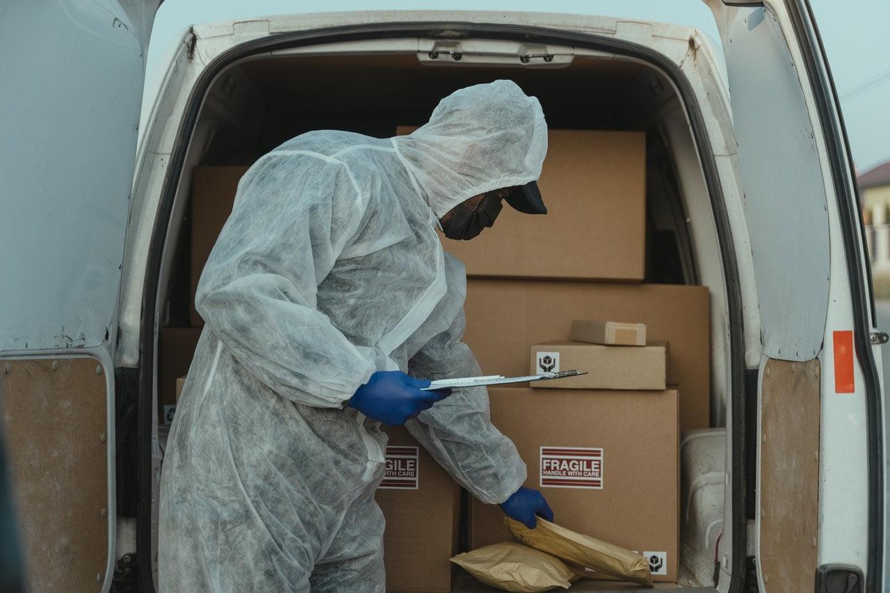 Employee wearing personal protective equipment