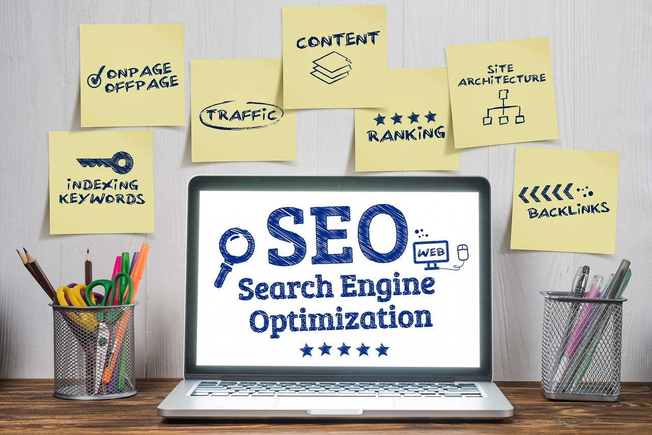 search engine optimization on laptop screen