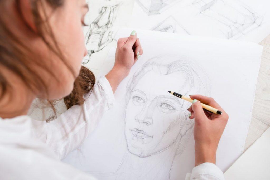 artist sketching face