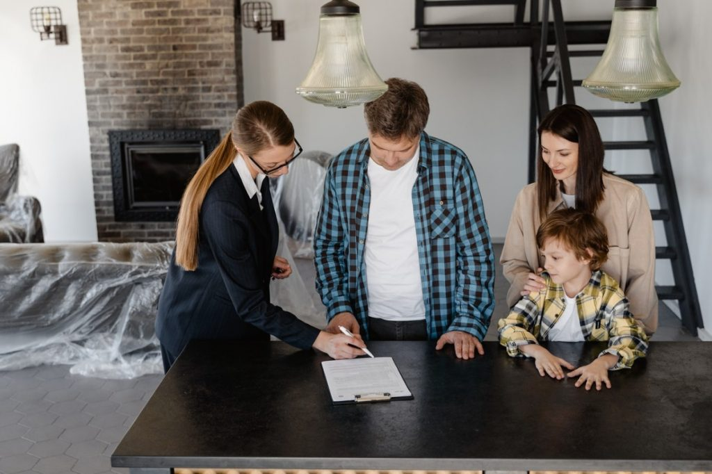 family with a real estate agent