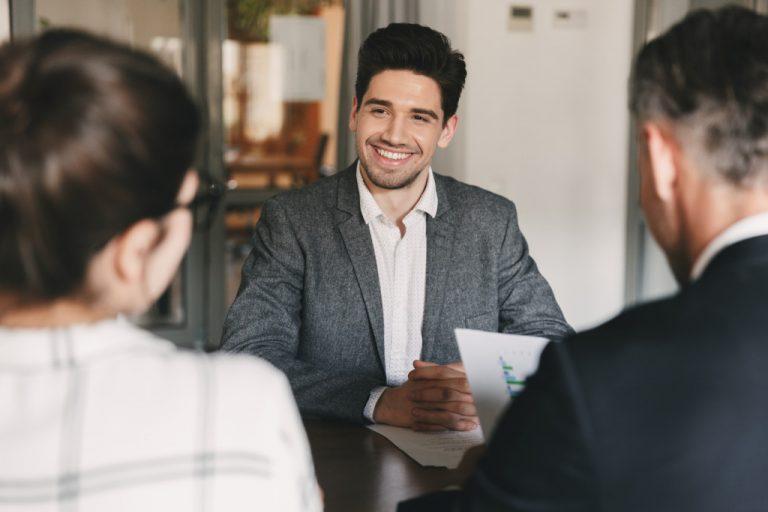 man at an interview